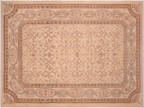handmade Transitional Kafkaz Beige Brown Hand Knotted RECTANGLE 100% WOOL area rug 6 x 9