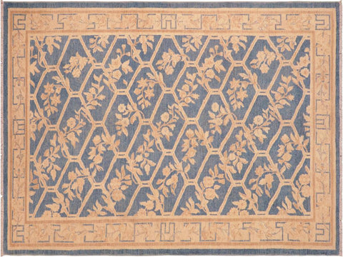 handmade Transitional Kafkaz Blue Tan Hand Knotted RECTANGLE 100% WOOL area rug 6 x 9