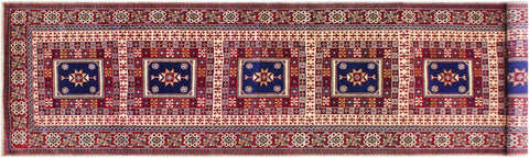 handmade Geometric Sherwan Red Blue Hand Knotted RUNNER 100% WOOL area rug 3x11,Hand knotted indoor Sherwan wool area rug made for all rooms with high quality wool in rich color pallet handmade by skilled artisans in geometric allover design is known for quality and affordability Oriental hand made rug offered at cheap discount for any decor one of a kind Shirwan Sharvan Shervan Sherwan Servan rug