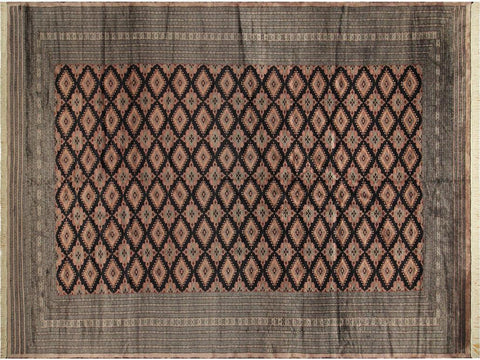 "A03190,10' 3"" X 15' 2"",Geometric                     ,10' x 14',Black,LT. BROWN,Hand-knotted                  ,Pakistan   ,100% Wool  ,Rectangle  ,652671152467"