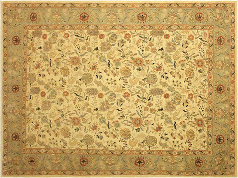 "A03227, 9' 0"" X 12' 2"",Traditional                   ,9' x 12',Natural,LT. GREEN,Hand-knotted                  ,Pakistan   ,100% Wool  ,Rectangle  ,652671152771"