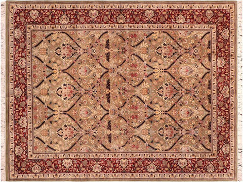 "A03282, 6' 3"" X  9' 2"",Traditional                   ,6' x 9',Green,RED,Hand-knotted                  ,Pakistan   ,100% Wool  ,Rectangle  ,652671153242"