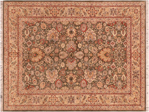 "A03284, 6' 2"" X  9' 2"",Traditional                   ,6' x 9',Green,LT. TAN,Hand-knotted                  ,Pakistan   ,100% Wool  ,Rectangle  ,652671153266"