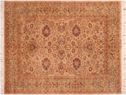 "A03299, 6' 0"" X  8' 7"",Traditional                   ,6' x 9',Tan,LT. GREEN,Hand-knotted                  ,Pakistan   ,100% Wool  ,Rectangle  ,652671153402"