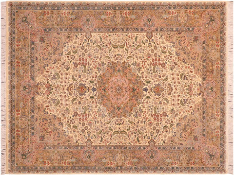 "A03306, 6' 1"" X  9' 4"",Traditional                   ,6' x 9',Natural,LT. GREEN,Hand-knotted                  ,Pakistan   ,100% Wool  ,Rectangle  ,652671153464"