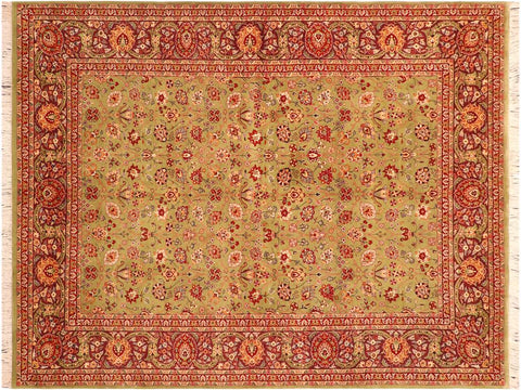 "A03308, 6' 2"" X  8' 9"",Traditional                   ,6' x 9',Green,BROWN,Hand-knotted                  ,Pakistan   ,100% Wool  ,Rectangle  ,652671153488"