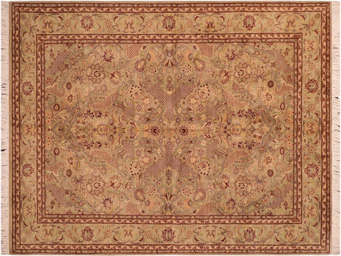 "A03312, 6' 1"" X  9' 3"",Traditional                   ,6' x 9',Green,BROWN,Hand-knotted                  ,Pakistan   ,100% Wool  ,Rectangle  ,652671153525"