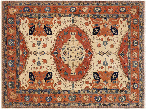 "A03334, 9' 0"" X 12' 7"",Geometric  ,9' x 12',Natural,RUST,Hand-knotted                  ,Pakistan   ,100% Wool  ,Rectangle  ,652671153747"