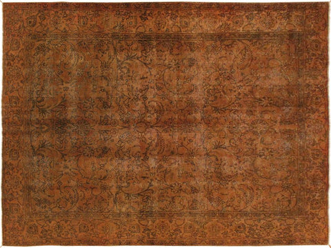 handmade Vintage Distressed Orange Brown Hand Knotted RECTANGLE 100% WOOL area rug 8' x 11'
