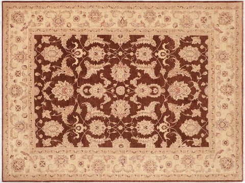 handmade Traditional Kafkaz Brown Beige Hand Knotted RECTANGLE 100% WOOL area rug 8 x 10