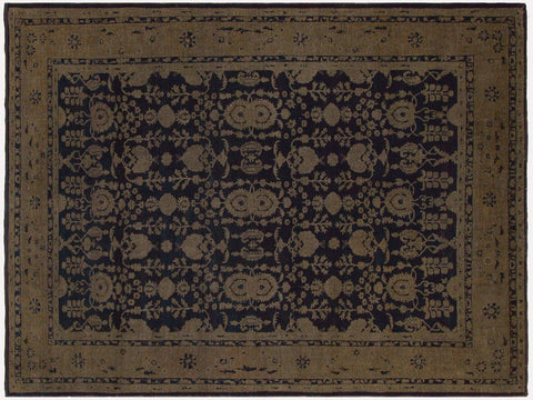 handmade Vintage Distressed Blue Brown Hand Knotted RECTANGLE 100% WOOL area rug 8' x 12'