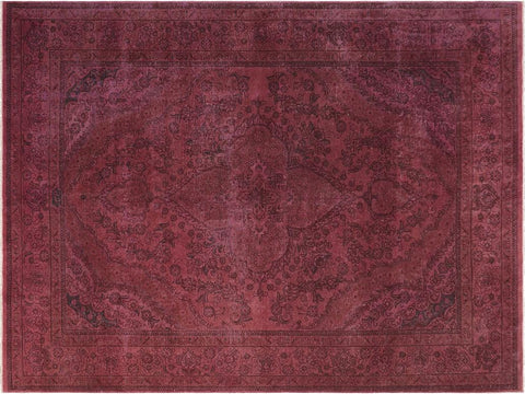 handmade Vintage Distressed Purple Brown Hand Knotted RECTANGLE 100% WOOL area rug 7' x 10'