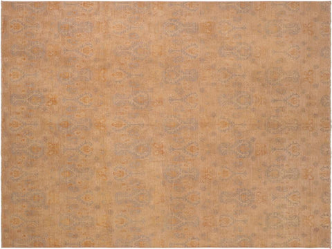 handmade Transitional Kafkaz Beige Rust Hand Knotted RECTANGLE 100% WOOL area rug 8 x 10