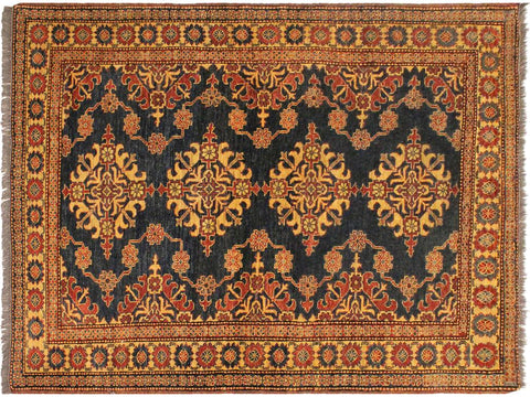 "A03443, 4' 8"" X  6' 1"",Geometric                     ,5' x 6',Blue,TAN,Hand-knotted                  ,Pakistan   ,100% Wool  ,Rectangle  ,652671154782"