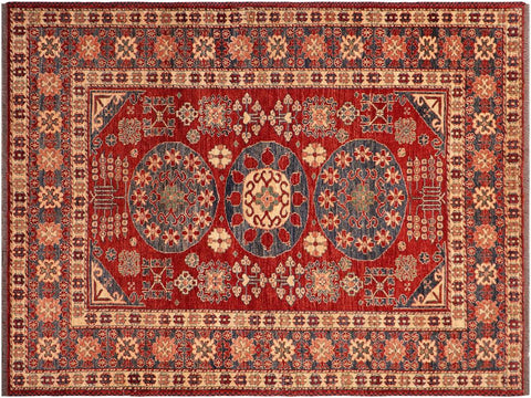 "A03450, 5' 3"" X  6' 3"",Geometric                     ,5' x 6',Blue,RUST,Hand-knotted                  ,Pakistan   ,100% Wool  ,Rectangle  ,652671154850"