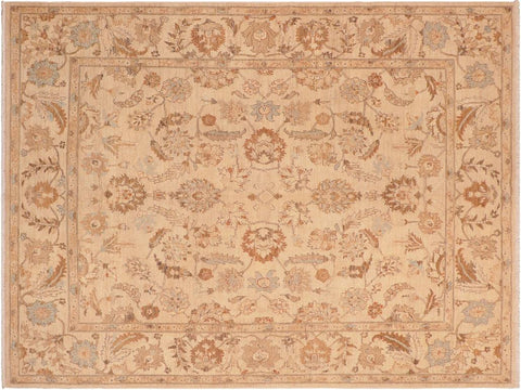 handmade Transitional Kafkaz Tan Brown Hand Knotted RECTANGLE 100% WOOL area rug 8 x 10