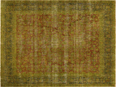 "A03597, 9' 9"" X 12' 8"",Vintage                       ,9' x 13',Rust,BLUE,Hand-knotted                  ,Pakistan   ,100% Wool  ,Rectangle  ,652671155291"
