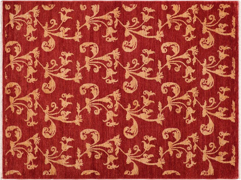 "A03625, 5' 2"" X  8' 0"",Modern     ,6' x 9',Red,RED,Hand-knotted                  ,Pakistan   ,100% Wool  ,Rectangle  ,652671155512"