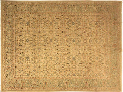 handmade Traditional Qaseem Bond Tan Green Hand Knotted RECTANGLE 100% WOOL area rug 10x14 Hand knotted indoor Pak Persian vegetable dyed area rug made for all rooms with high quality New Zealand wool in rich color pallet weaved by skilled artisans in traditional transitional design known for quality and affordable price. Oriental rug offered at cheap discount for any decor, with Persian weave(KPSI upto 300)