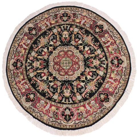 "A03662, 5'11"" X  6' 2"",Traditional                   ,6' x 6',Black,PINK,Hand-knotted                  ,Pakistan   ,100% Wool  ,Round      ,652671155871"