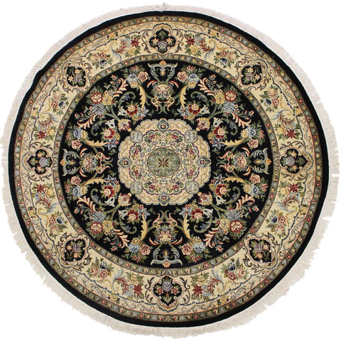 "A03663, 8' 2"" X  8' 2"",Traditional                   ,8' x 8',Black,IVORY,Hand-knotted                  ,Pakistan   ,100% Wool  ,Round      ,652671155888"