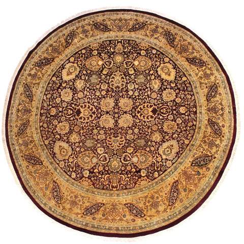 handmade Traditional Agra Tabriz Red Tan Hand Knotted ROUND 100% WOOL area rug 10x10 Hand knotted indoor Pak Persian vegetable dyed area rug made for all rooms with high quality New Zealand wool in rich color pallet weaved by skilled artisans in traditional transitional design known for quality and affordable price. Oriental rug offered at cheap discount for any decor, with Persian weave(KPSI upto 300)