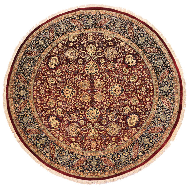 handmade Traditional Kashan Red Blue Hand Knotted ROUND 100% WOOL area rug 8x8 Hand knotted indoor Pak Persian vegetable dyed area rug made for all rooms with high quality New Zealand wool in rich color pallet weaved by skilled artisans in traditional transitional design known for quality and affordable price. Oriental rug offered at cheap discount for any decor, with Persian weave(KPSI upto 300)