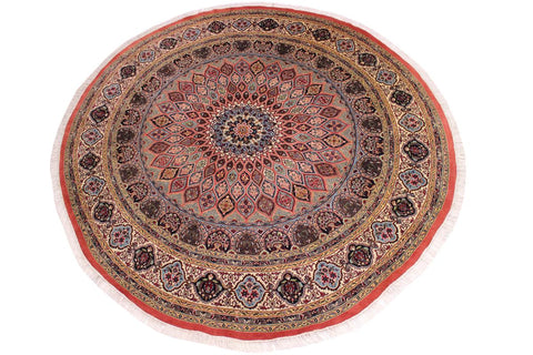 "A03673,10' 2"" X 10' 5"",Traditional                   ,10' x 10',Pink,IVORY,Hand-knotted                  ,Pakistan   ,100% Wool  ,Round      ,652671155970"