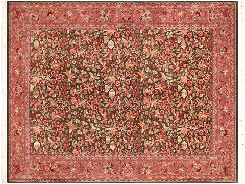 "A03693, 6' 0"" X  8' 8"",Traditional                   ,6' x 9',Green,BROWN,Hand-knotted                  ,Pakistan   ,100% Wool  ,Rectangle  ,652671156175"