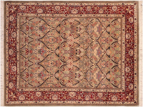 "A03714, 6' 0"" X  9' 0"",Traditional                   ,6' x 9',Green,RED,Hand-knotted                  ,Pakistan   ,100% Wool  ,Rectangle  ,652671156380"