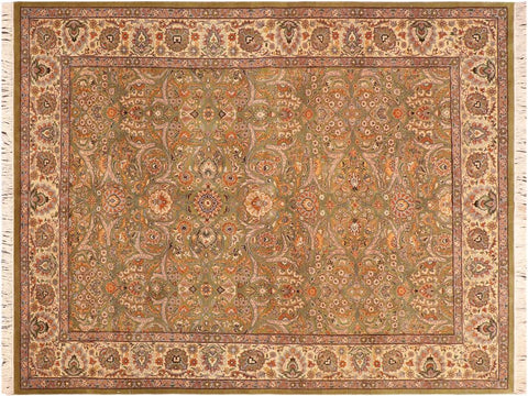 "A03733, 6' 1"" X  8' 6"",Traditional                   ,6' x 9',Green,IVORY,Hand-knotted                  ,Pakistan   ,100% Wool  ,Rectangle  ,652671156564"