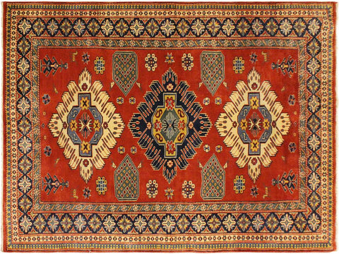 "A03750, 4' 6"" X  6' 1"",Geometric                     ,5' x 6',Rust,BLUE,Hand-knotted                  ,Pakistan   ,100% Wool  ,Rectangle  ,652671156717"