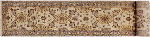 "A03783, 2' 7"" X 16'10"",Transitiona,2'7"" x 17',Natural,BLUE,Hand-knotted                  ,Pakistan   ,100% Wool  ,Runner     ,652671157035"