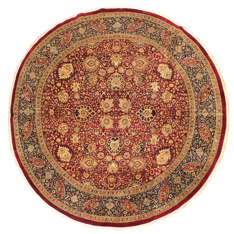 handmade Traditional Kashan Red Blue Hand Knotted ROUND 100% WOOL area rug 12x12 Hand knotted indoor Pak Persian vegetable dyed area rug made for all rooms with high quality New Zealand wool in rich color pallet weaved by skilled artisans in traditional transitional design known for quality and affordable price. Oriental rug offered at cheap discount for any decor, with Persian weave(KPSI upto 300)