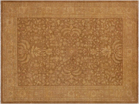handmade Transitional Kafkaz Brown Tan Hand Knotted RECTANGLE 100% WOOL area rug 10 x 12