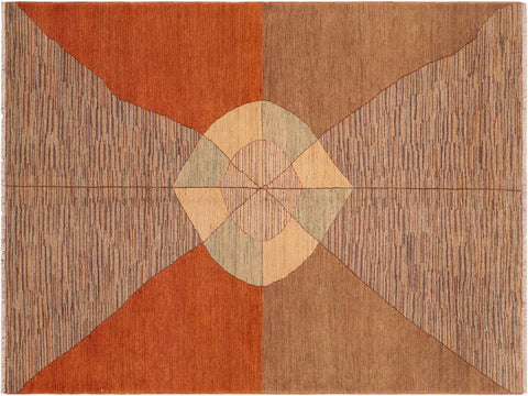 handmade Modern Gabbeh Orange Brown Hand Knotted RECTANGLE 100% WOOL area rug 6 x 9