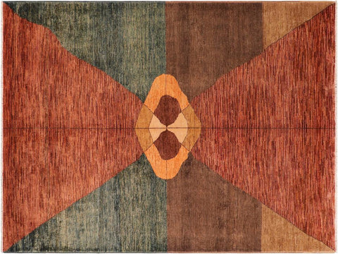 handmade Modern Gabbeh Rust Brown Hand Knotted RECTANGLE 100% WOOL area rug 7 x 10