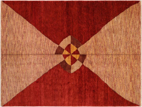 handmade Modern Gabbeh Red Beige Hand Knotted RECTANGLE 100% WOOL area rug 7 x 10