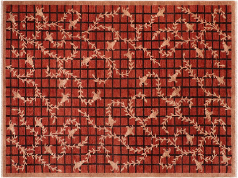 "A04027, 6' 0"" X  8'10"",Modern     ,6' x 9',Red,LT. BROWN,Hand-knotted                  ,Pakistan   ,100% Wool  ,Rectangle  ,652671159473"