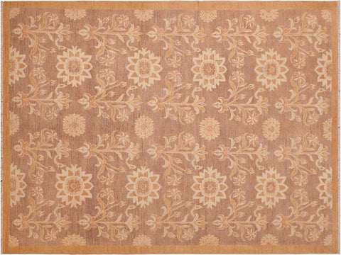 handmade Transitional Kafkaz Brown Gold Hand Knotted RECTANGLE 100% WOOL area rug 6 x 9