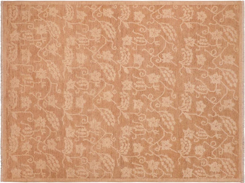 handmade Transitional Kafkaz Brown Tan Hand Knotted RECTANGLE 100% WOOL area rug 6 x 9