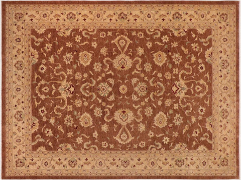 handmade Traditional Kafkaz Brown Gold Hand Knotted RECTANGLE 100% WOOL area rug 10x14'