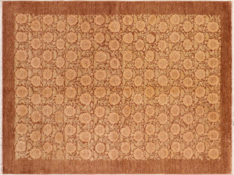 handmade Modern Kafkaz Brown Multi Hand Knotted RECTANGLE 100% WOOL area rug 6x9'