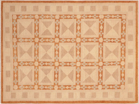 "A04116, 6' 0"" X  8' 7"",Modern     ,6' x 9',Rust,TAN,Hand-knotted                  ,Pakistan   ,100% Wool  ,Rectangle  ,652671160363"
