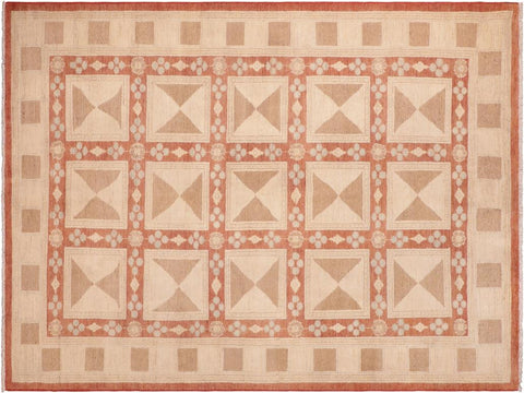 "A04118, 6' 2"" X  8' 8"",Modern     ,6' x 9',Rust,TAN,Hand-knotted                  ,Pakistan   ,100% Wool  ,Rectangle  ,652671160387"
