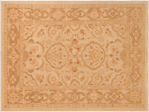 handmade Traditional Kafkaz Beige Brown Hand Knotted RECTANGLE 100% WOOL area rug 6 x 9