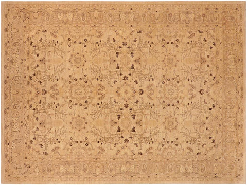 handmade Transitional Kafkaz Tan Brown Hand Knotted RECTANGLE 100% WOOL area rug 10x14'