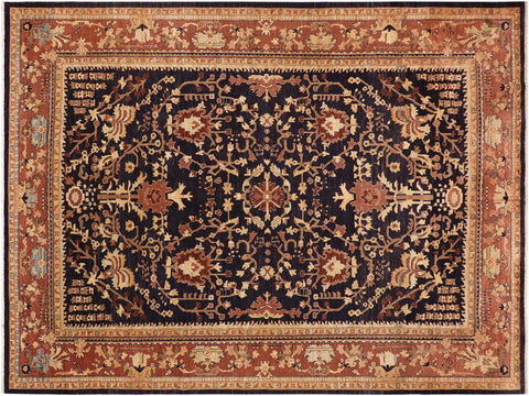 handmade Traditional Kafkaz Blue Brown Hand Knotted RECTANGLE 100% WOOL area rug 10' x 14'