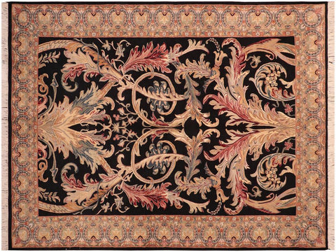 "A04183, 6' 1"" X  9' 1"",Traditional                   ,6' x 9',Black,LT. GREEN,Hand-knotted                  ,Pakistan   ,100% Wool  ,Rectangle  ,652671161032"