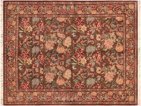 "A04189, 5'11"" X  8'10"",Traditional                   ,6' x 9',Brown,LT. BLUE,Hand-knotted                  ,Pakistan   ,100% Wool  ,Rectangle  ,652671161094"